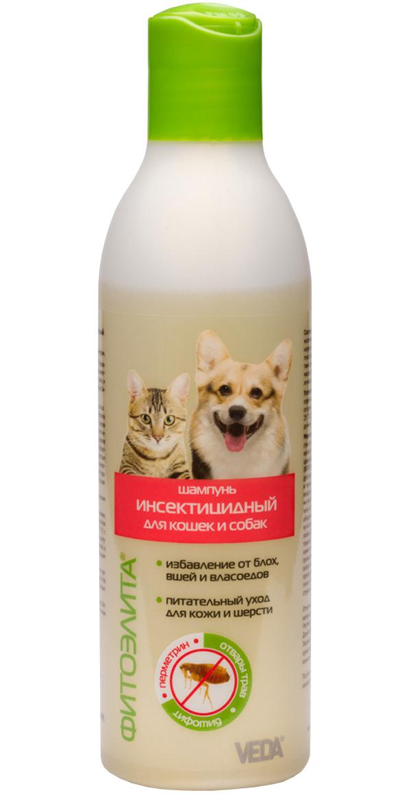 фитоэлита шампунь инсектицидный для собак и кошек против блох вшей и власоедов Veda (220 мл).