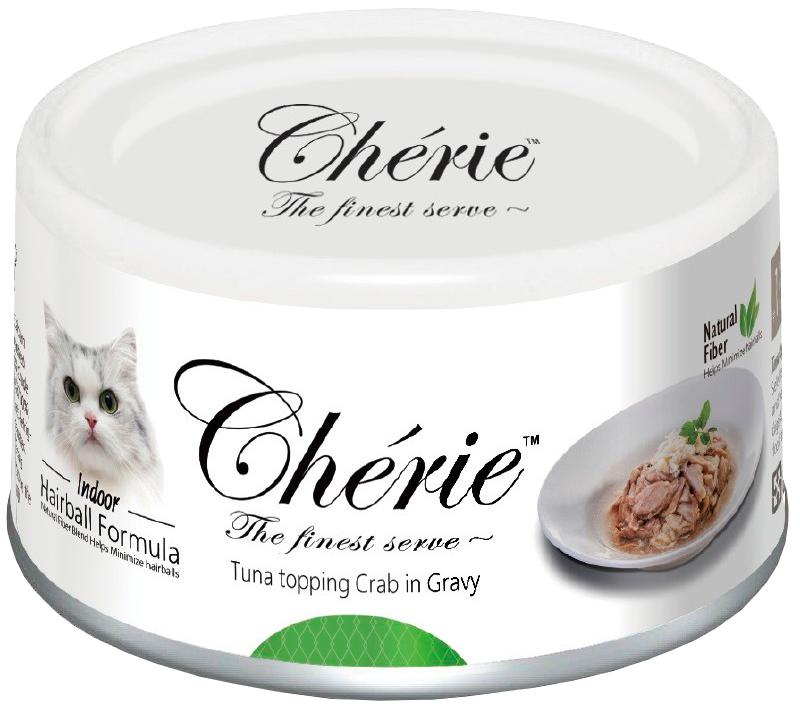 Pettric Cherie Adult Cat Hairball Control Tuna & Crab для взрослых кошек для вывода шерсти с тунцом и крабом в подливе 80 гр (80 гр)