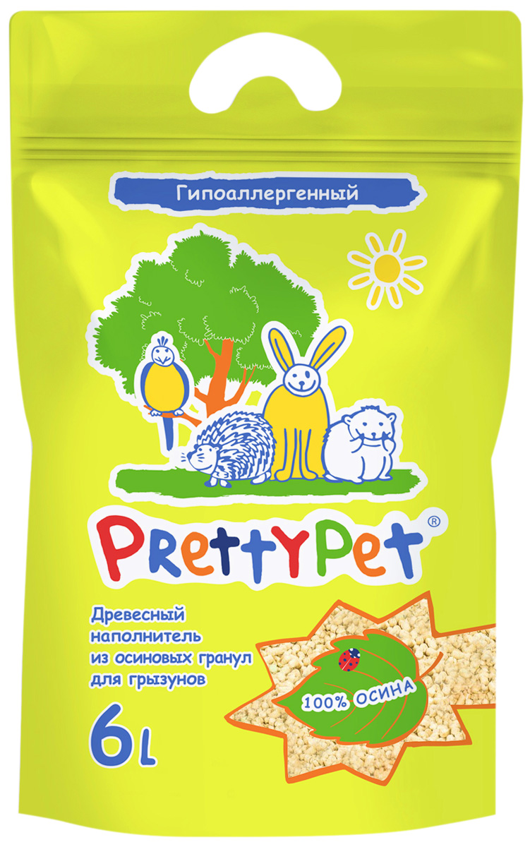 Картинка - Pretty Pet наполнитель древесный осиновый для грызунов и птиц (6 л)