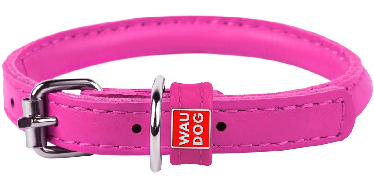 Ошейник кожаный круглый для длинношерстных собак розовый 8 мм 20 - 25 см Collar WauDog Glamour (1 шт) фото