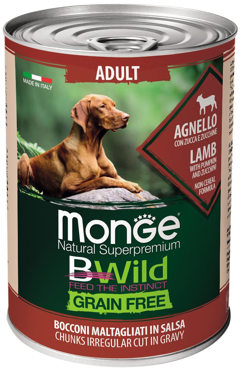 Monge Adult Dog Bwild Grainfree беззерновые для взрослых собак с ягненком, тыквой и кабачками (400 гр)
