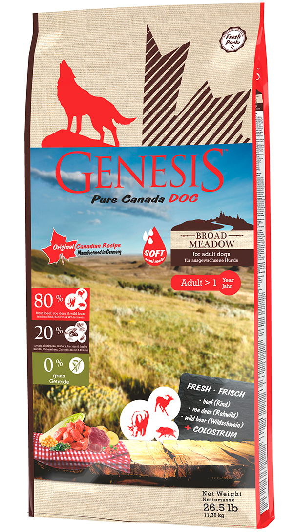 Genesis Pure Canada Broad Meadow Adult беззерновой для взрослых собак всех пород с говядиной, косулей и диким кабаном (11,79 кг)