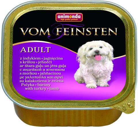 Animonda Vom Feinsten Adult Mit Pute & Lamm для взрослых собак с индейкой и ягненком 150 гр (150 гр х 22 шт) фото