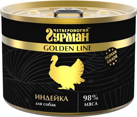 четвероногий гурман Golden Line для взрослых собак с индейкой натуральной в желе (100 гр х 24 шт)