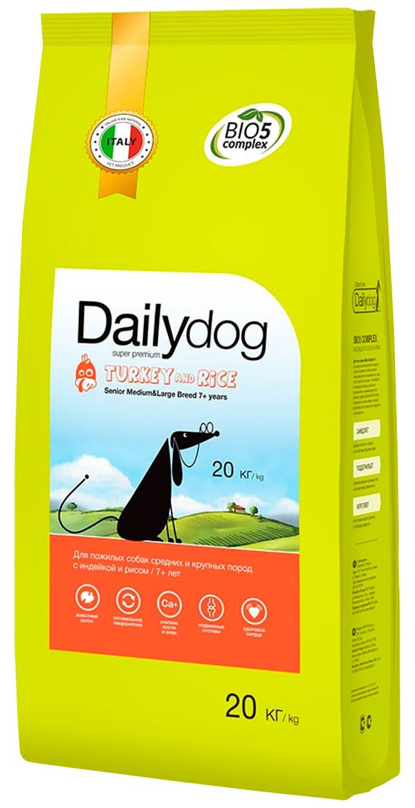 Dailydog Senior Medium & Large Breed Turkey & Rice монобелковый для пожилых собак средних и крупных пород с индейкой и рисом (20 + 20 кг)