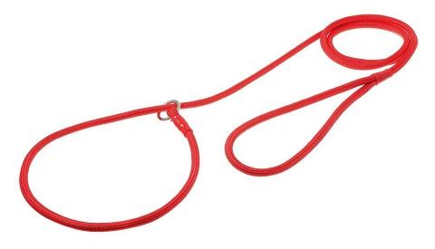 Поводок-удавка круглый с кольцом красный нейлон 1,5 м V.I.Pet (3 мм)