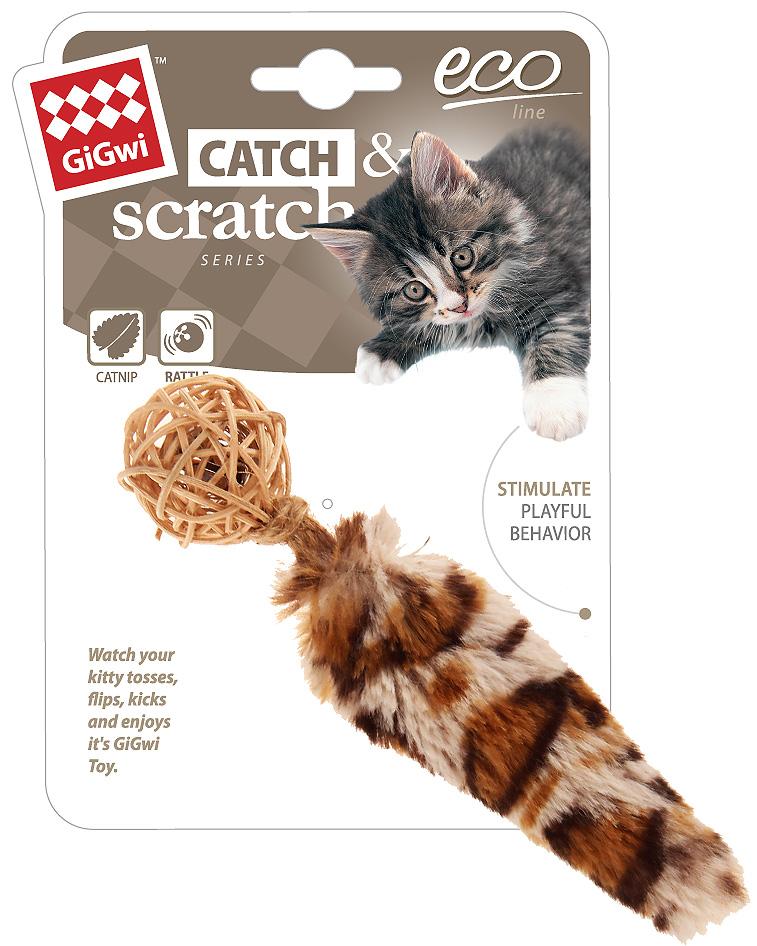 Игрушка для кошек GiGwi Catch Skratch Eco Мячик с колокольчиком, хвостом и кошачьей мятой плетеный 13 см (1 шт)