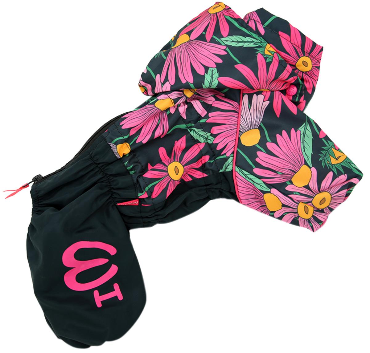 For My Dogs дождевик для собак Цветы черно/розовый для девочек 424ss-2020 F (22)