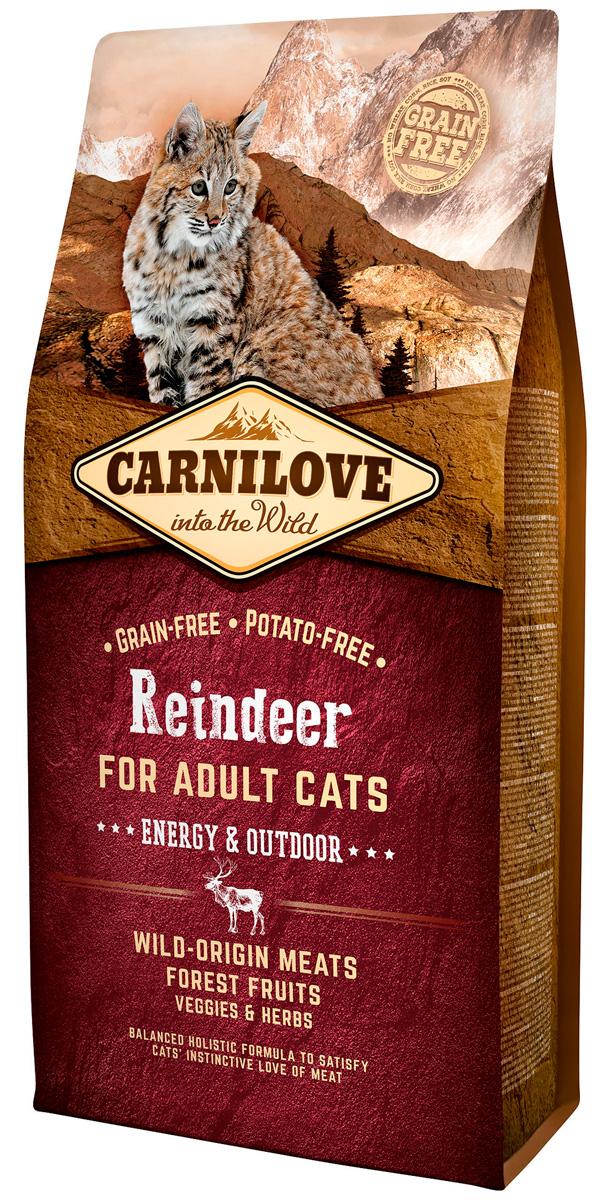 Brit Carnilove Cat Adult Energy & Outdoor Reindeer беззерновой для активных взрослых кошек с мясом северного оленя (2 кг)