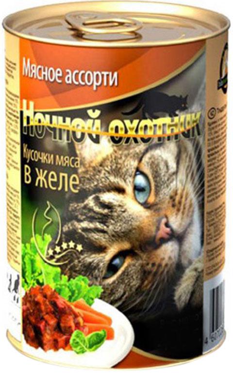 ночной охотник для взрослых кошек с мясным ассорти в желе 415 гр (415 гр х 20 шт)