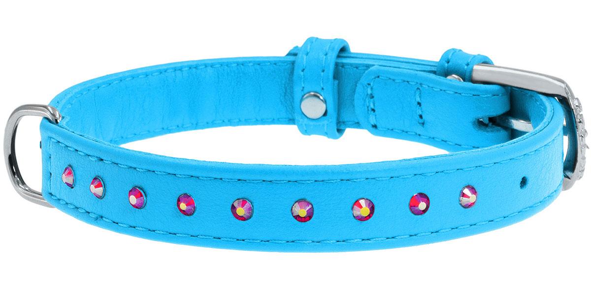 Ошейник кожаный для собак с клеевыми стразами синий 12 мм 21 - 29 см Collar WauDog Glamour (1 шт) ошейник collar glamour с клеевыми стразами цветочек ширина 12мм длина 21 29см лайм для собак 32695