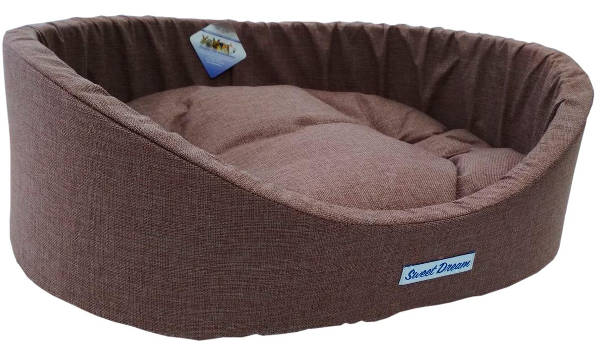 Лежак для животных с бортиком Сладкий сон Рогожка № 3 коричневый 4 55 х 43 х 16 см (1 шт)