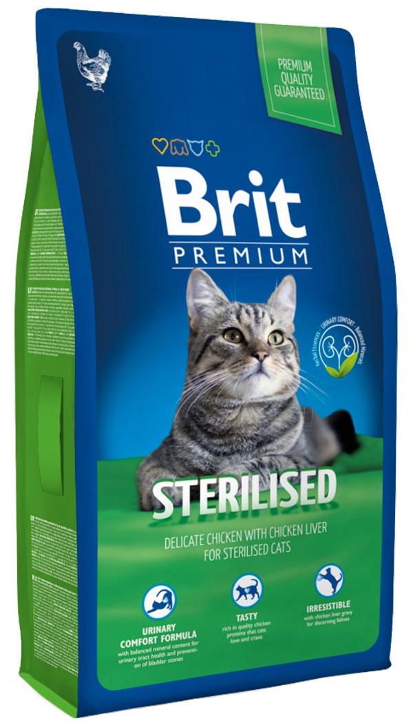 Brit Premium Cat Sterilized для взрослых кастрированных котов и стерилизованных кошек с курицей и куриной печенью (8 + 8 кг) фото