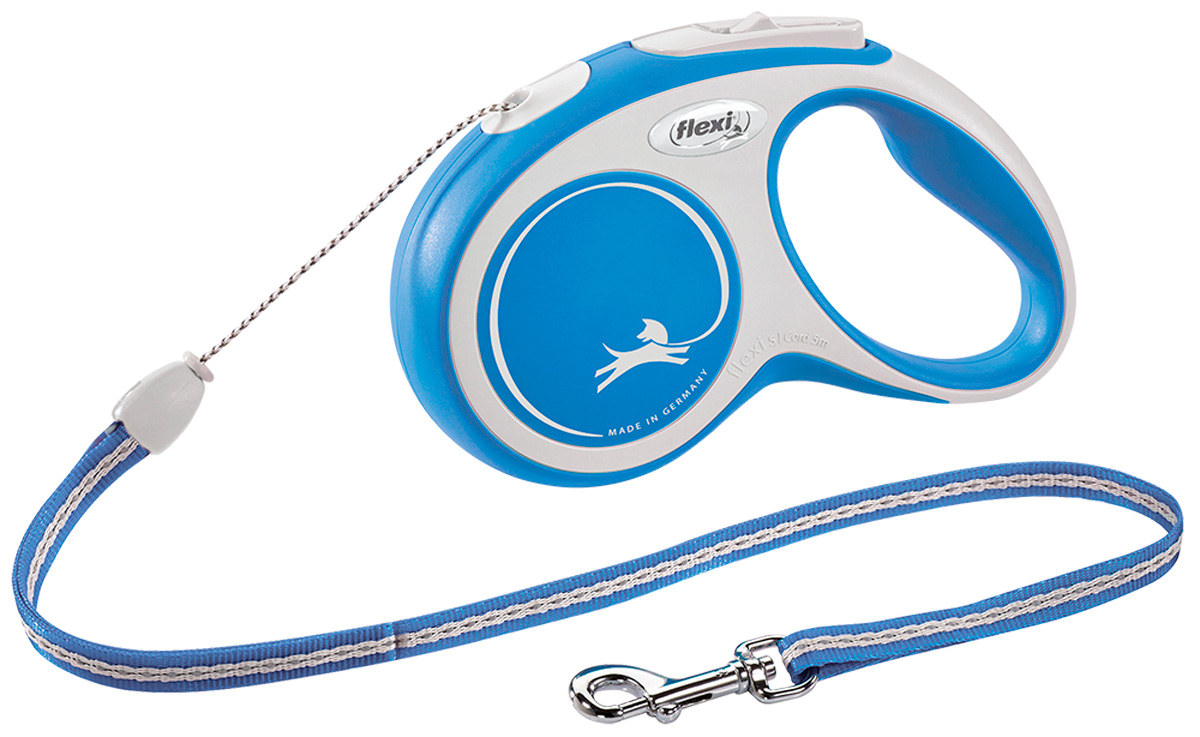 Фото - Flexi New Comfort Cord тросовый поводок рулетка для животных 5 м размер S синий (1 шт) flexi new comfort tape ременной поводок рулетка для животных 5 м размер s синий 1 шт