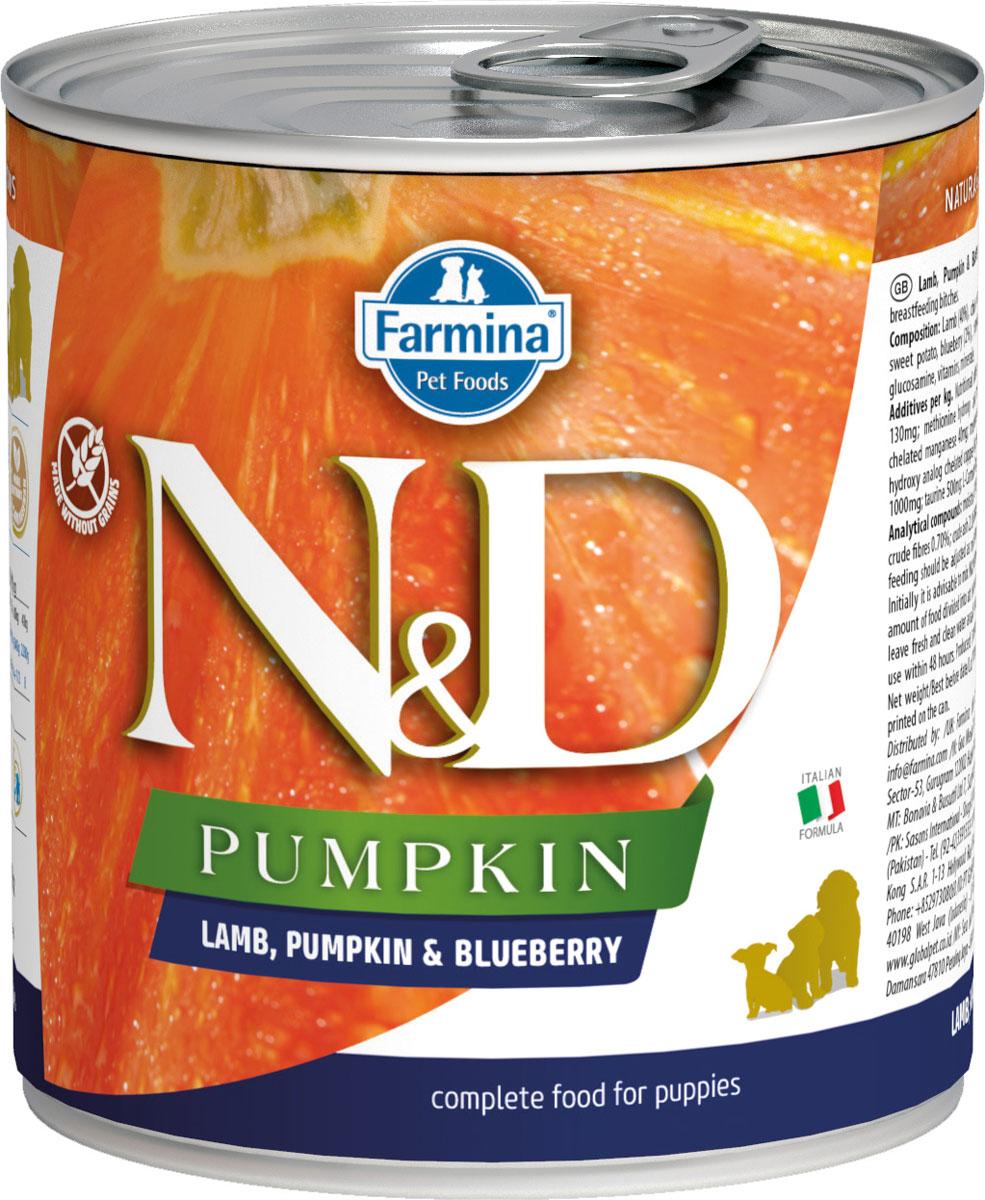 Farmina Dog N&d Puppy Lamb, Pumpkin & Blueberry беззерновые для щенков всех пород с ягненком, тыквой и черникой 285 гр (285 гр х 6 шт)