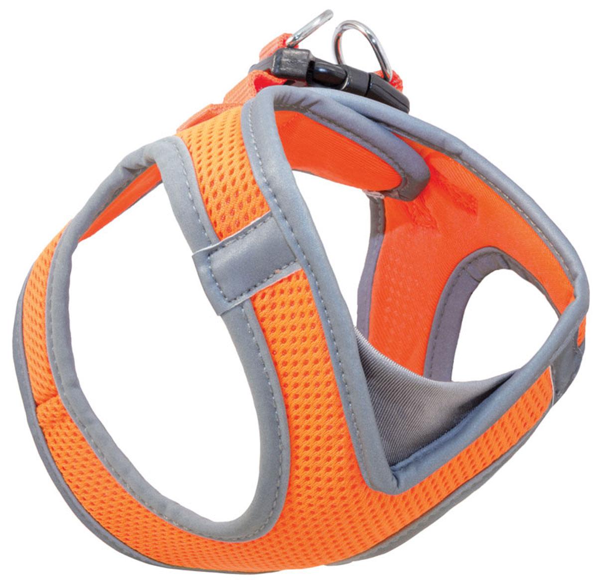 Шлейка жилетка мягкая для собак Triol S нейлоновая оранжевая 36 - 41 см (1 шт) фото