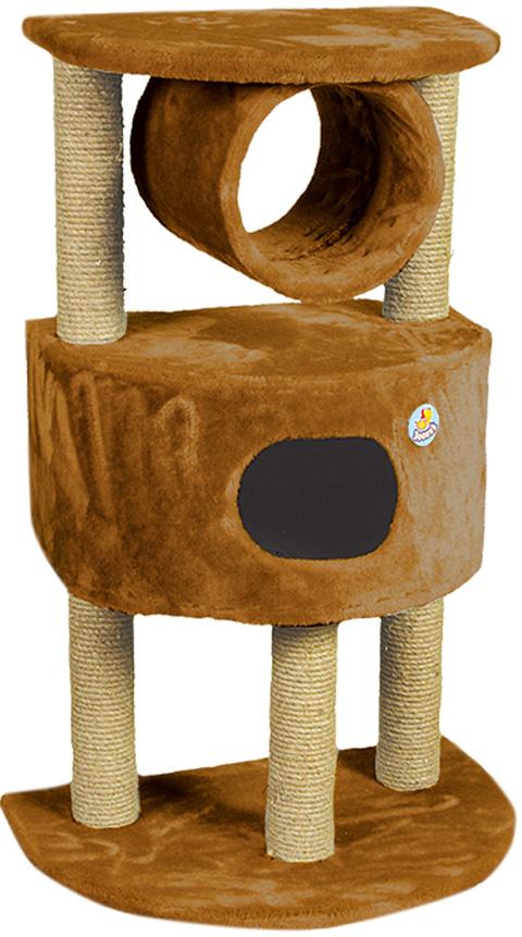 Дом для кошек полукруглый на 3 когтеточках Зооник коричневый мех 63 х 44 х 100 см (1 шт)
