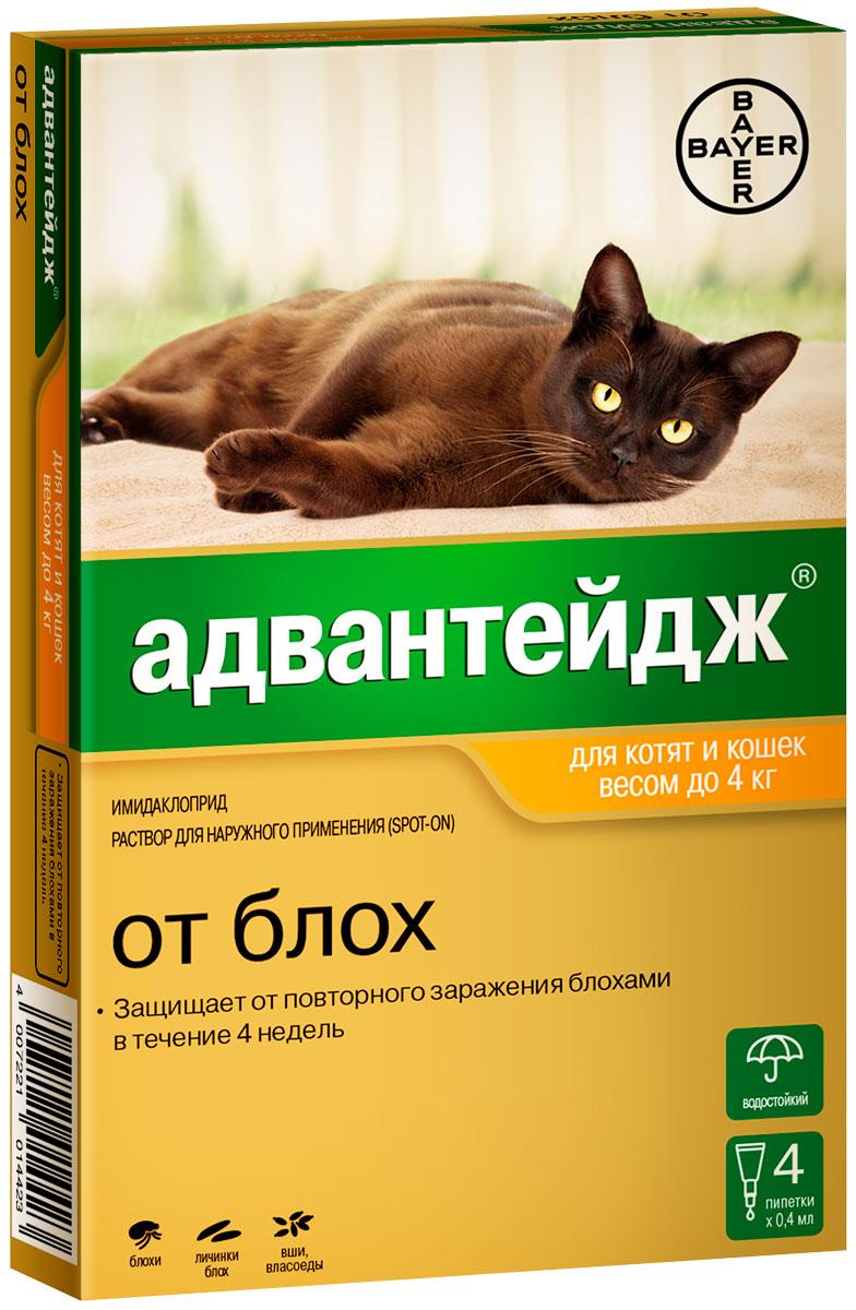 Advantage 40k – Адвантейдж капли для кошек весом до 4 кг против блох, вшей и власоедов (1 пипетка по 0,4 мл) Bayer (1 пипетка)