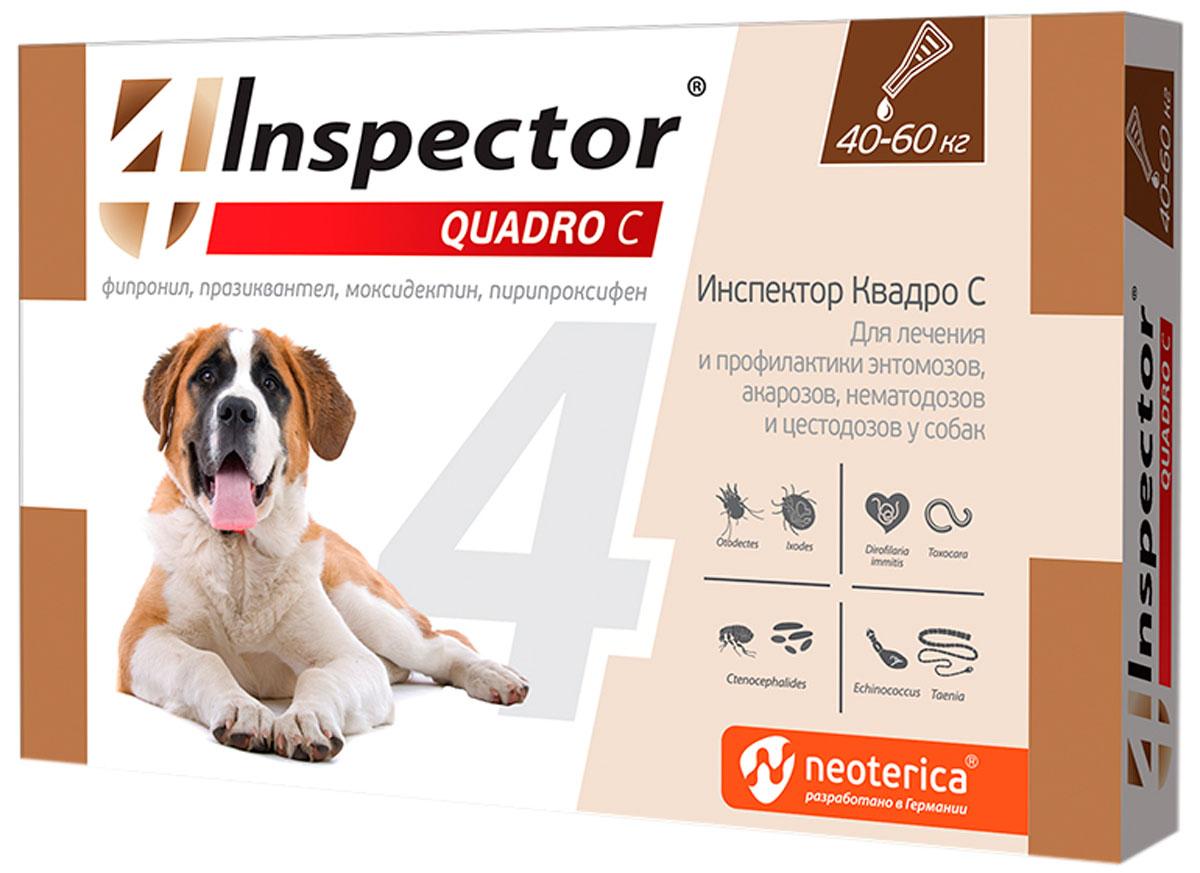 Inspector Quadro C капли для собак весом от 40 до 60 кг против внутренних и внешних паразитов (1 пипетка)