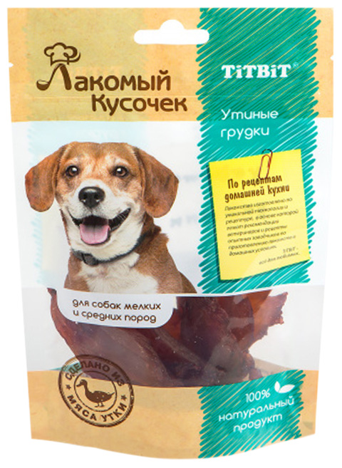 Лакомство Tit Bit лакомый кусочек для собак маленьких и средних пород утиные грудки (80 гр)