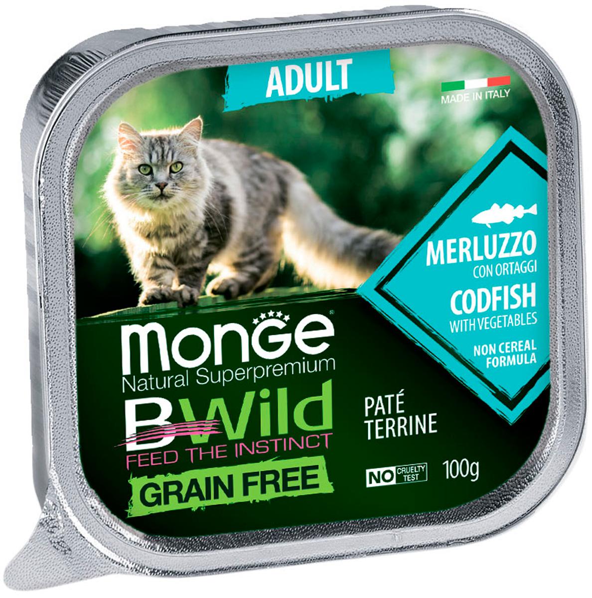 Monge Bwild Adult Cat Grain Free беззерновые для взрослых кошек с треской и овощами (100 гр) stuzzy cat для взрослых кошек с треской в соусе 100 гр 100 гр