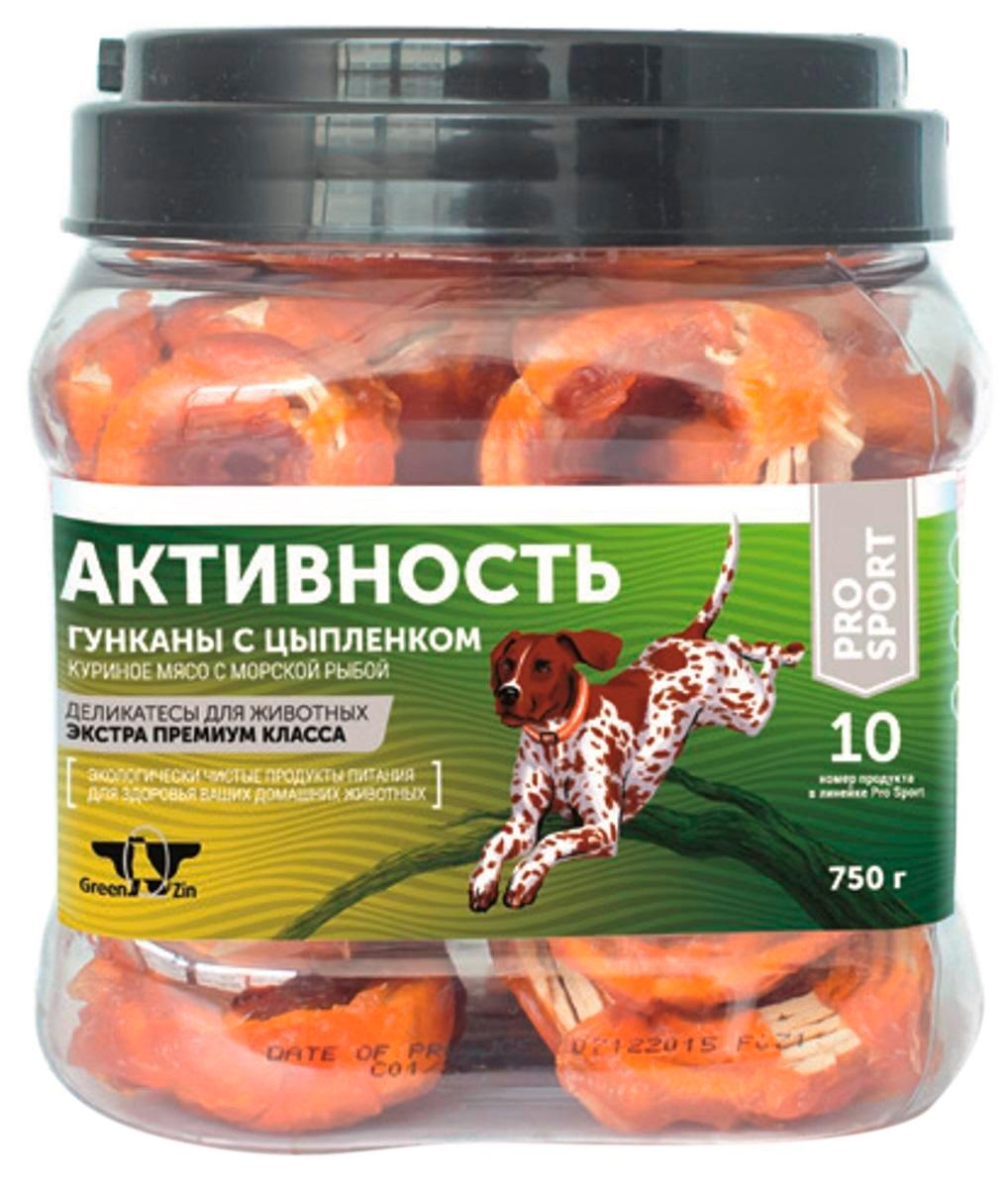 Лакомство Green Qzin Активность для собак всех пород мясо курицы на колечках из сурими 750 гр  (1 шт)