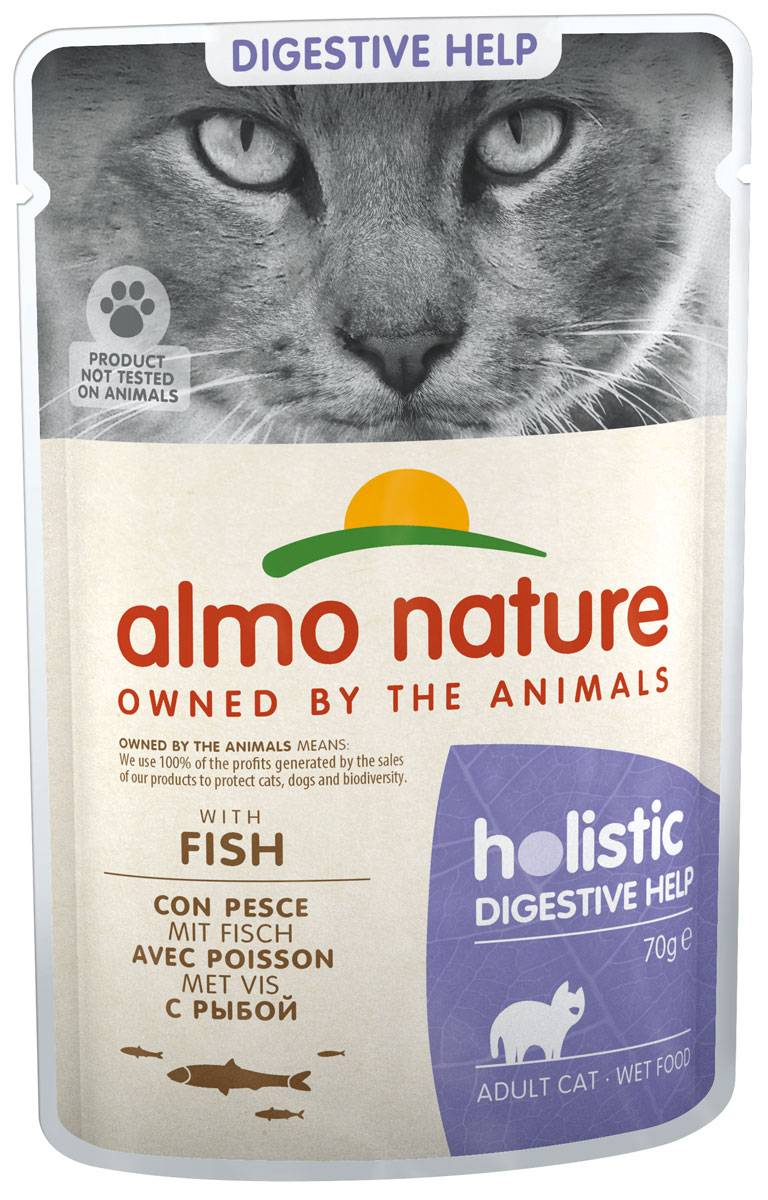 Almo Nature Cat Holistic Digestive Help для взрослых кошек при аллергии с рыбой пауч 70 гр (70 гр х 30 шт)