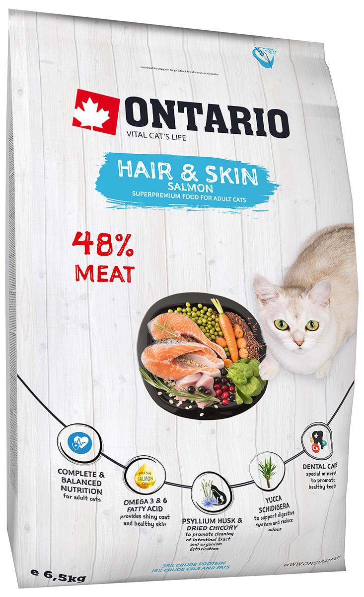 Ontario Cat Adult Hair & Skin Salmon низкозерновой для взрослых кошек с чувствительной кожей и шерстью с лососем (2 кг)