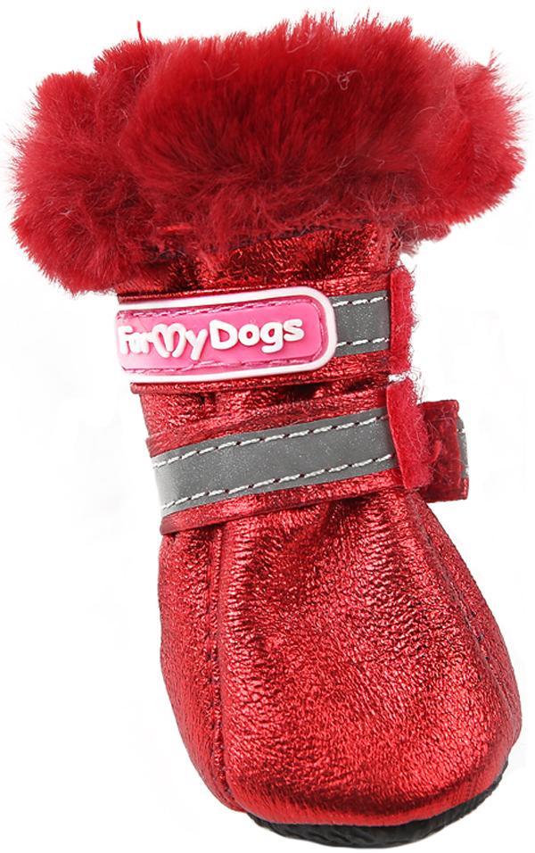 For My Dogs сапоги для собак зимние красные металлик Fmd643-2019 R (2)
