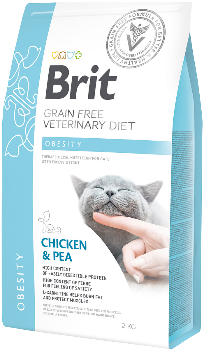 Brit Veterinary Diet Cat Grain Free Obesity для взрослых кошек при ожирении (2 кг)