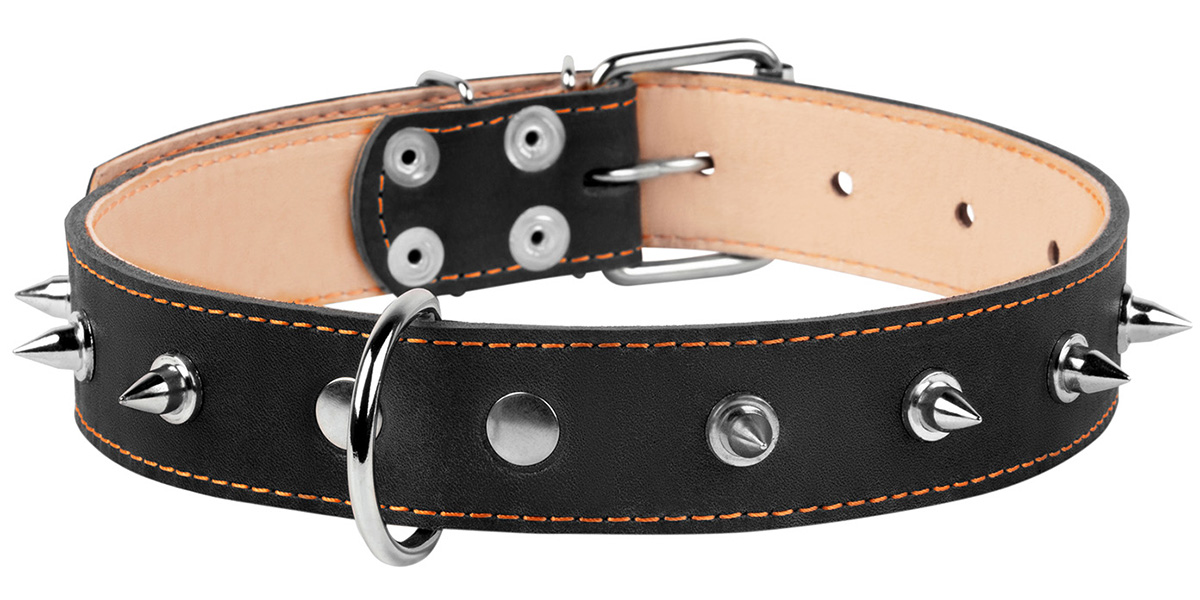 Ошейник кожаный для собак двойной с шипами черный 35 мм 48 – 63 см Collar (1 шт)