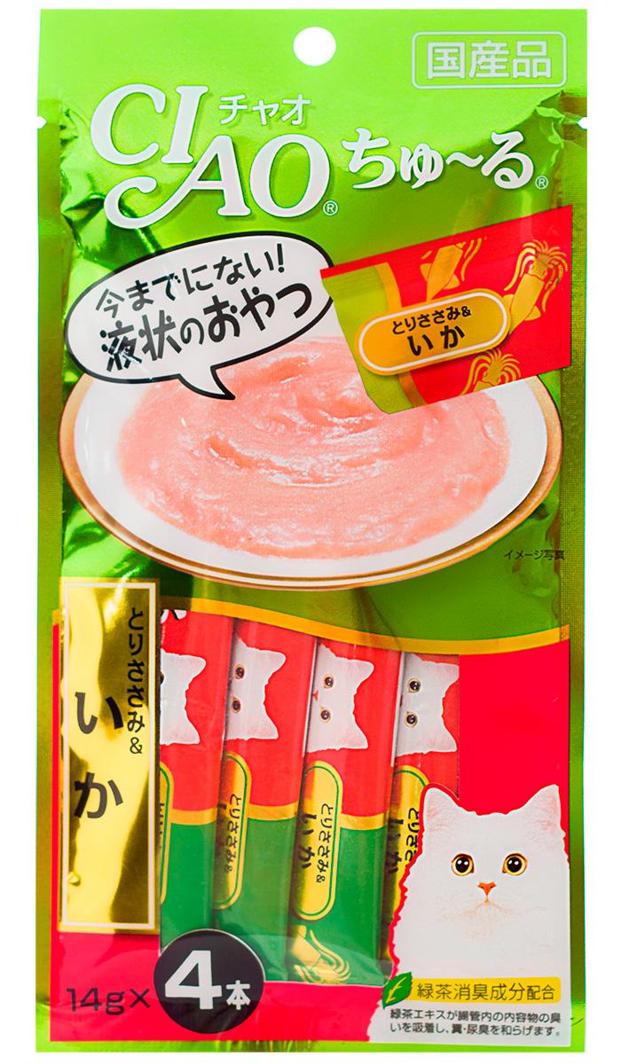 Лакомство Inaba Ciao для кошек крем-суп с кальмаром и парным филе курицы 56 гр (1 шт)
