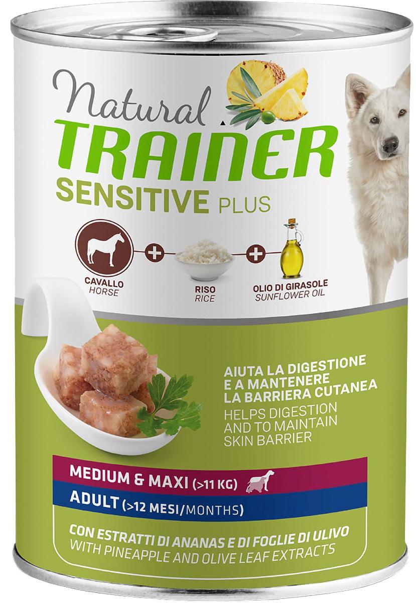Trainer Natural Sensitive Plus Medium & Maxi Adult Horse Rice для взрослых собак средних и крупных пород с кониной рисом (400 гр х 12 шт)