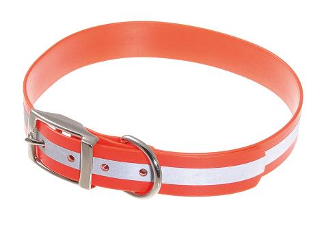 Ошейник для собак биотановый светоотражающий V.I.Pet, оранжевый, 45 – 53 см/25 мм (1 шт)
