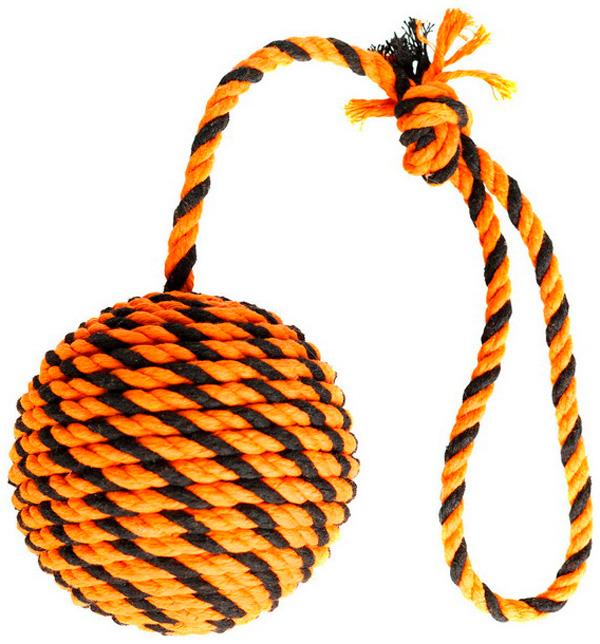 Мяч с ручкой для собак Doglike Броник оранжевый/черный большой (1 шт)