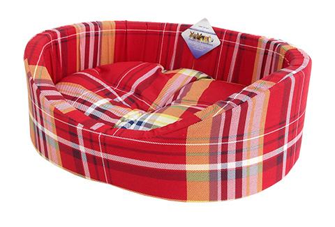 Лежак для собак с бортиком № 9, шотландка красная, 105 х 69 х 24 см (1 шт) фото