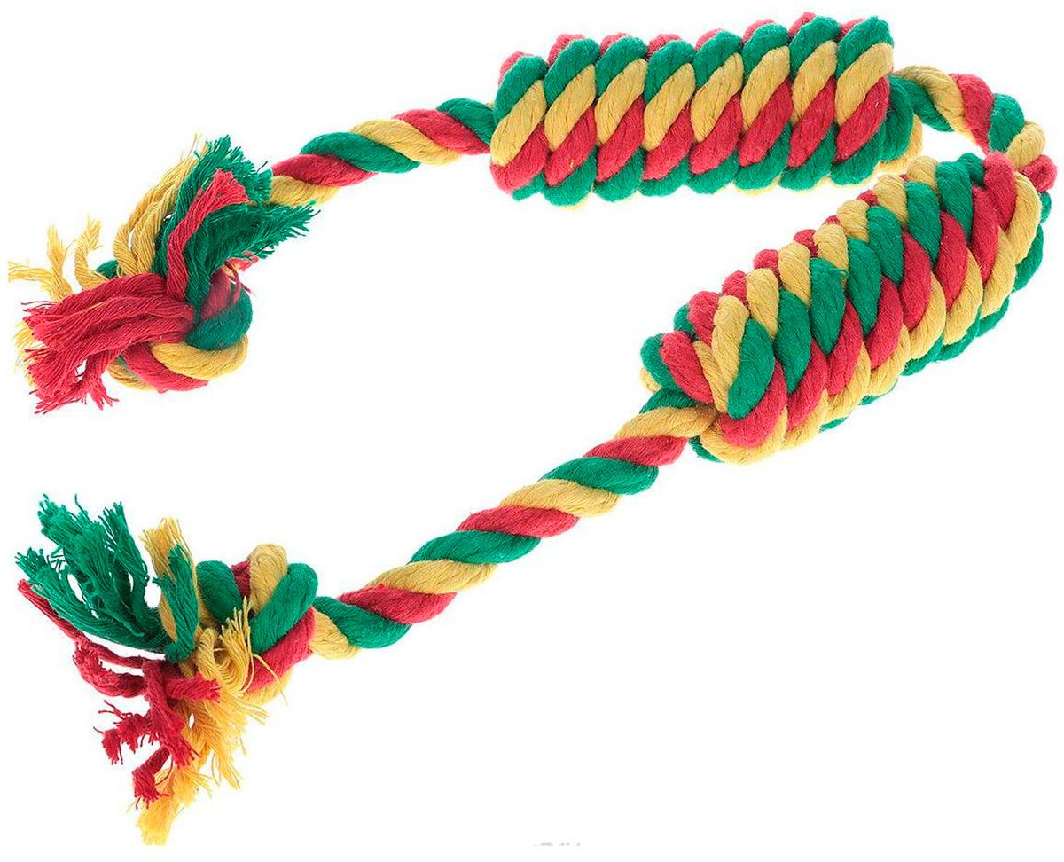 Игрушка для собак Doglike Dental Knot Сарделька канатная двойная цветная малая (1 шт)