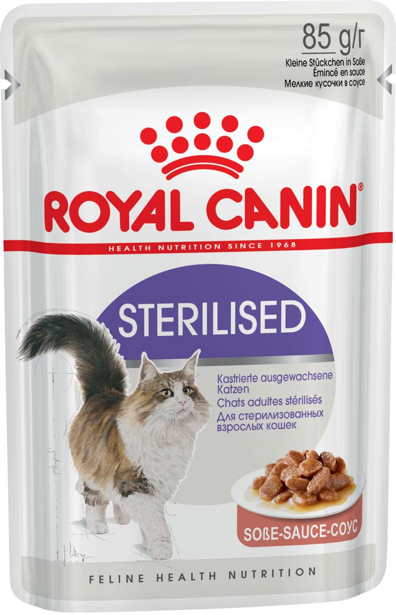 Royal Canin Sterilised для взрослых кастрированных котов и стерилизованных кошек в соусе 85 гр (85 гр)