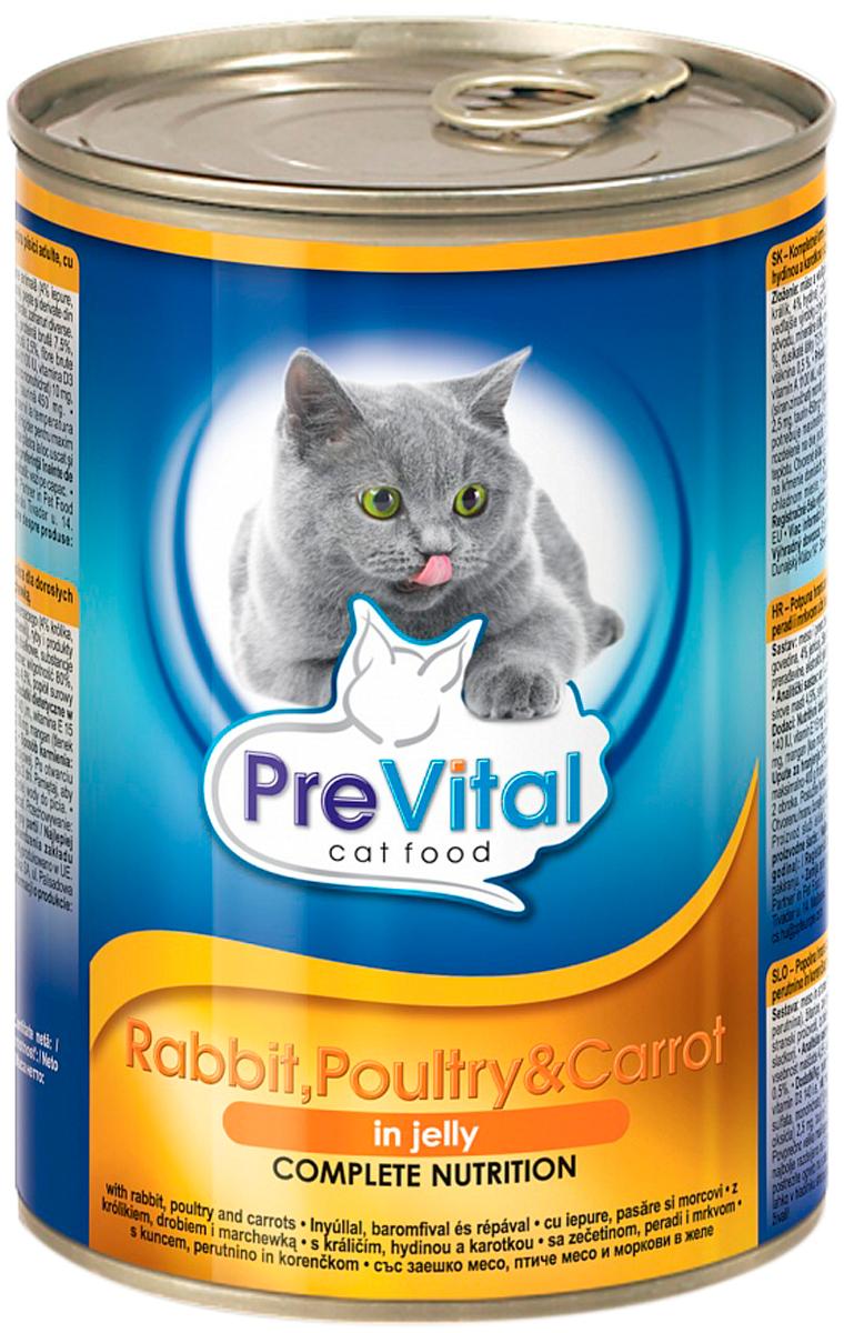 Prevital для взрослых кошек с кроликом, домашней птицей и морковью в желе (415 гр)