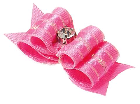 Бантик тройной объемный розовый 4,5 х 1,5 см V.I.Pet (уп. 2 шт) (1 шт)