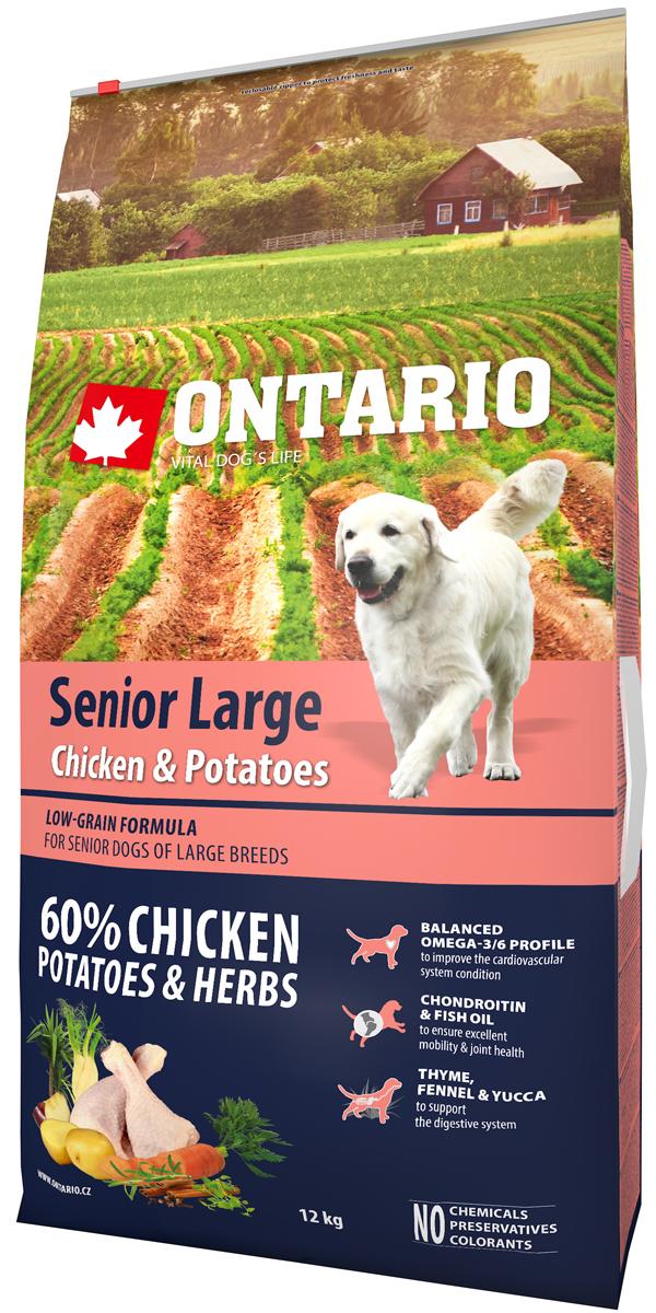 Ontario Dog Senior Large Chicken & Potatoes низкозерновой для пожилых собак крупных пород с курицей и картофелем (12 + 12 кг)