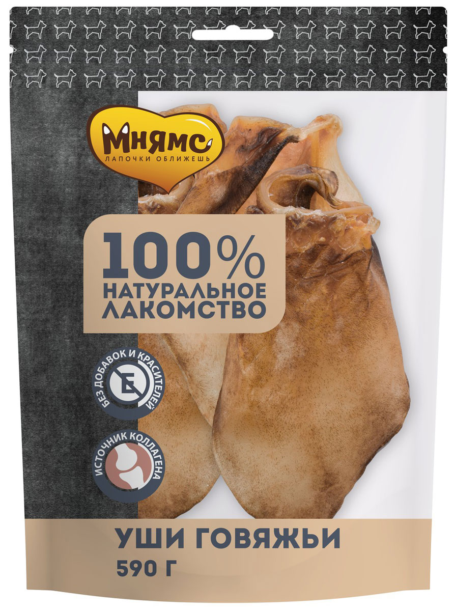 Лакомство мнямс для собак уши говяжьи сушеные 590 гр (1 шт)