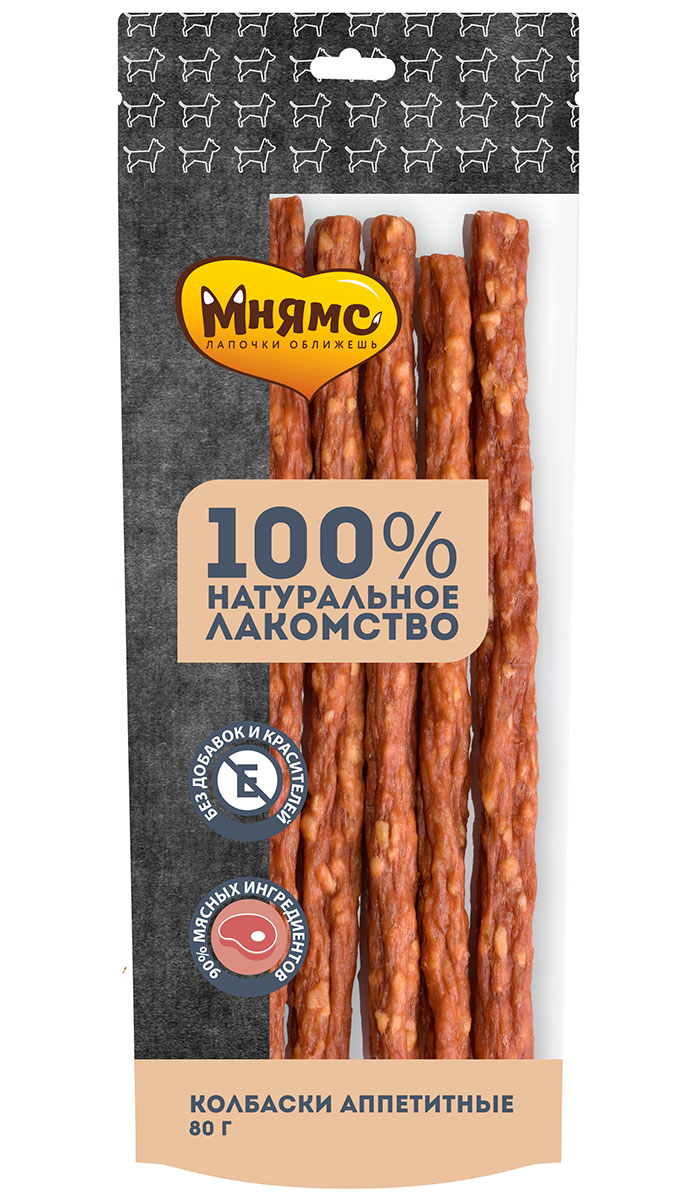 Лакомство мнямс для собак колбаски аппетитные сушеные 80 гр (1 шт)