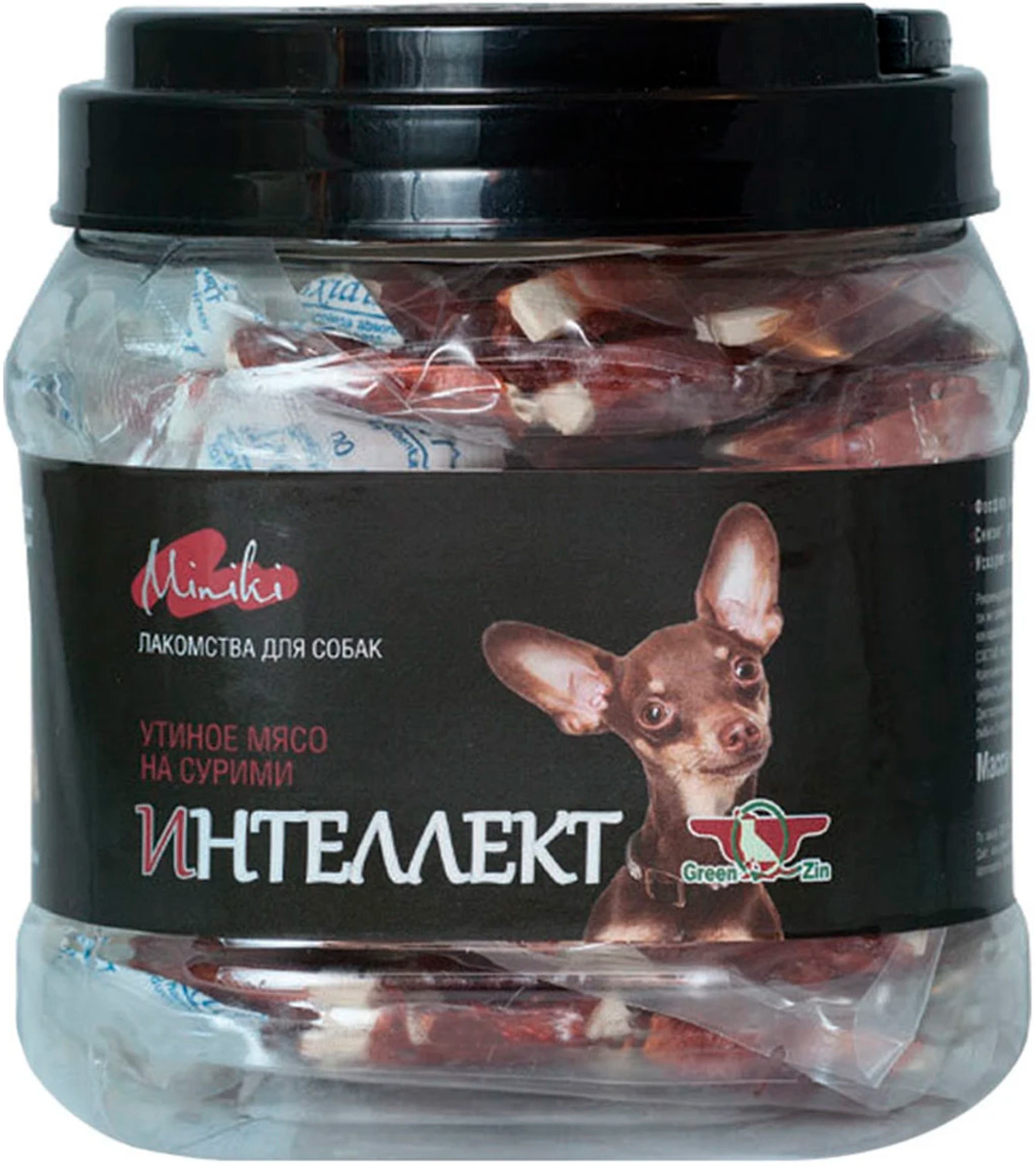 Лакомство Green Qzin Miniki Интеллект для собак маленьких пород мясо утиное сушеное на сурими 440 гр (1 шт)