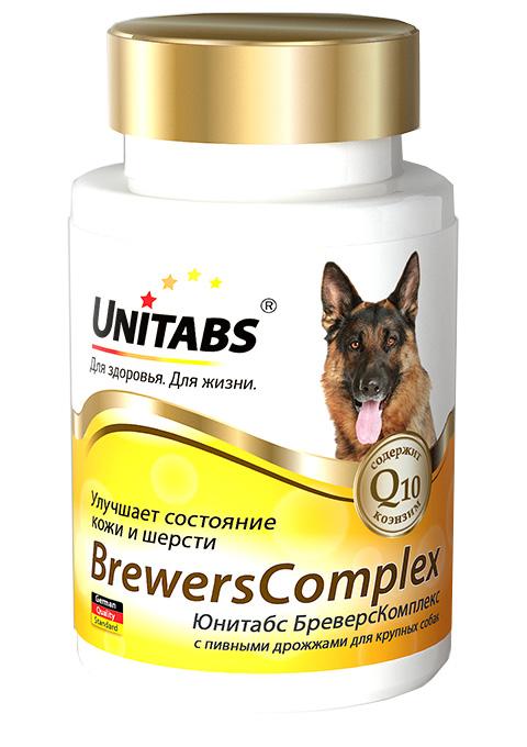 Картинка - Unitabs Brewerscomplex – Юнитабс витаминно-минеральный комплекс для собак крупных  пород с Q10 и пивными дрожжами (100 таблеток)