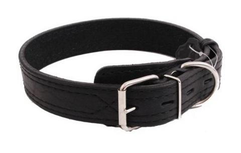 Ошейник для собак кожаный с двойной строчкой, черный, шир. 15 мм, ZooMaster (35 см) ошейник для собак кожаный с двойной строчкой черный шир 35 мм zoomaster 60 см