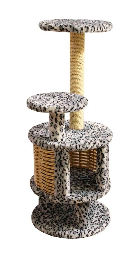 Домик Круглый с плетеными стенками Пушок обычный мех серый леопард (1 шт)