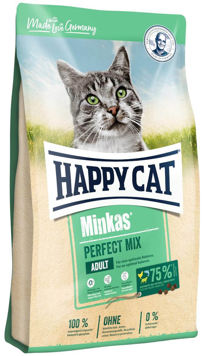 Happy Cat Minkas Perfect Mix для взрослых кошек с птицей, ягненком и рыбой (1,5 кг)