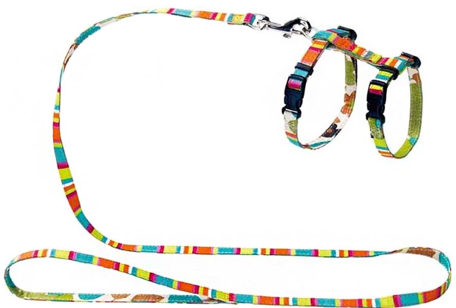 Шлейка для собак и кошек Hunter Smart Stripes нейлон разноцветная (1 шт)