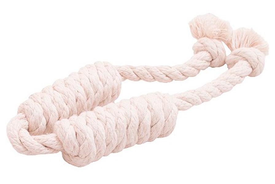 Игрушка для собак Doglike Dental Knot Сарделька канатная двойная белая малая (1 шт)